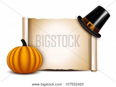 Thanksgiving Parchment With Pilgrim Hat And Pumpkin