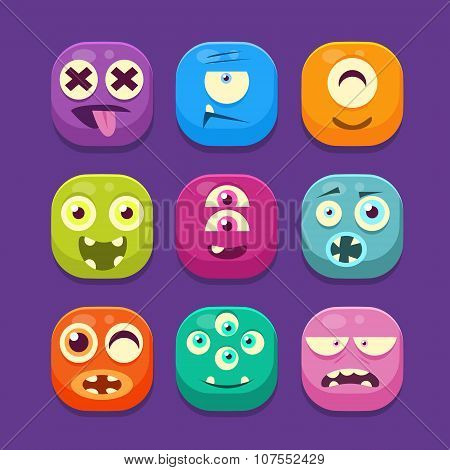 Cute Monster Web Icons, Colourful Vector Illustrations