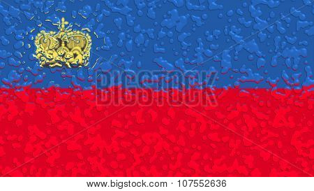 Flag of Liechtenstein with water drops