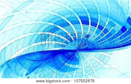 Blue Grid Wave Fractal Background
