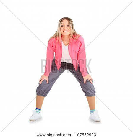 Young smiling woman in sportwear isolated