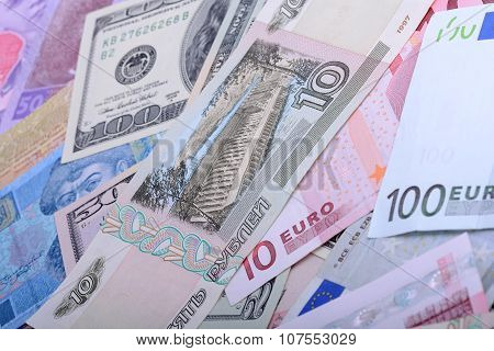 European And American Money, Hryvnia, Rubble And Dollars