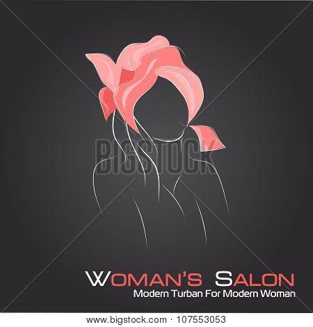 Silhouette Woman In A Turban On Black