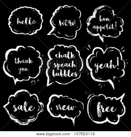 Chalk speech bubbles set with short phrases(hello, wow, bon appetit, thank you, yeah, sale, new, fre