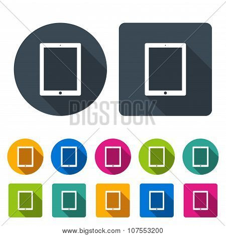 Tablet Icons  Set In The Style Flat Design Different Color On The White Background. Stock Vector