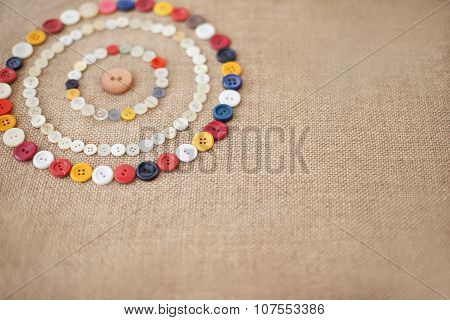Circles Of Colorful Sewing Buttons