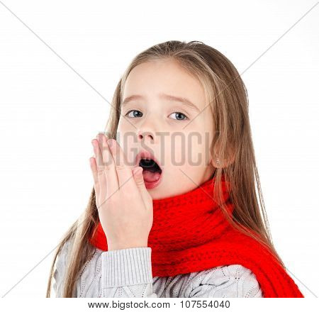 Sick Little Girl In Red Scarf Coughing