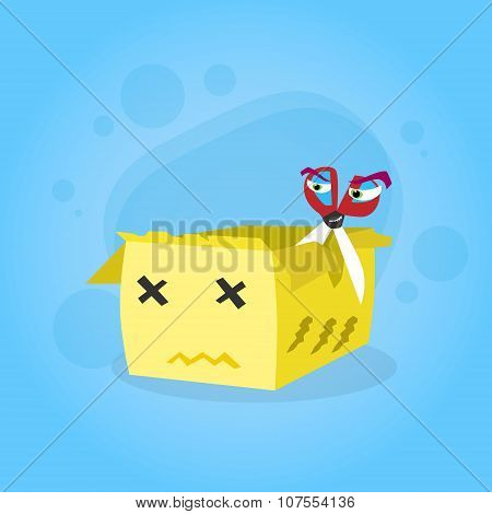 Scissors Cut Cardboard Box Yellow Cartoon Character Sad Unhappy Face