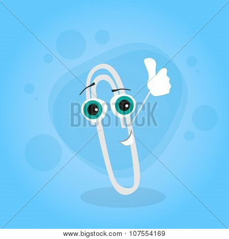 Paperclip Thumb Up Hand Gesture Cartoon Character Happy Smile Clip
