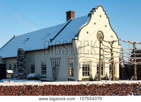 Historic Dutch House In Wintertime