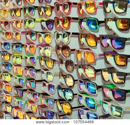 Many different sunglasses at the sale