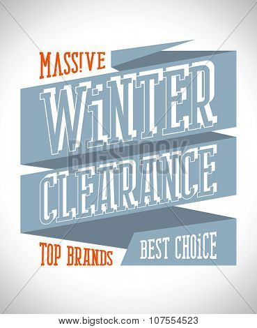 Massive winter clearance design in retro style on a ribbon, rasterized version.