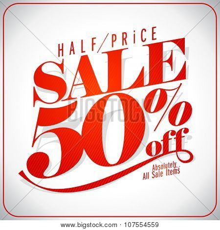 Half price sale design typographic design, retro style illustration, rasterized version.