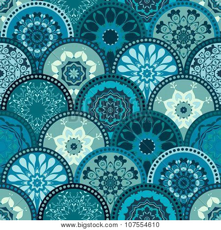 Seamless abstract pattern frame of trendy colored floral flower tile circles. For wallpaper, surface