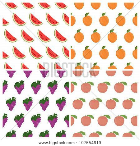 Vector Seamless Pattern Set With Fruits. Watermelon, Grape, Peach And Apricot. Healthy Food Backgrou