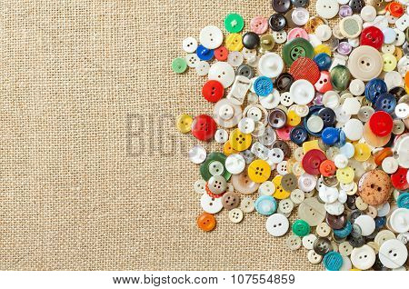 Colourful Sewing Buttons With Copy Space