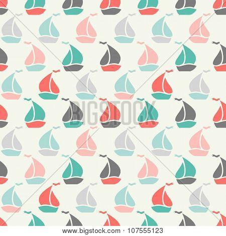 Sailboat shape seamless pattern. illustration for marine design