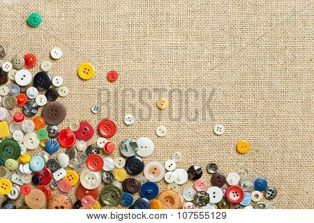 Collection Of Colourful Sewing Buttons With Copy Space