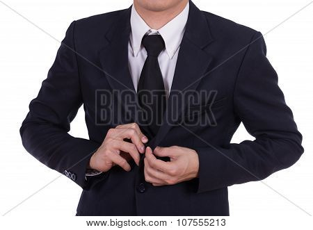Business Man Button His Jacket
