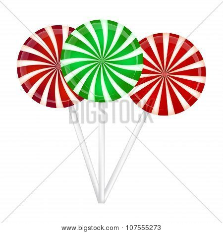 Christmas Striped Lollipop Set. Spiral Sweet Candy With Stripes. Vector Illustration Isolated On A W