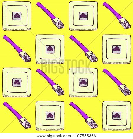 Sketch Internet Cable And Socket