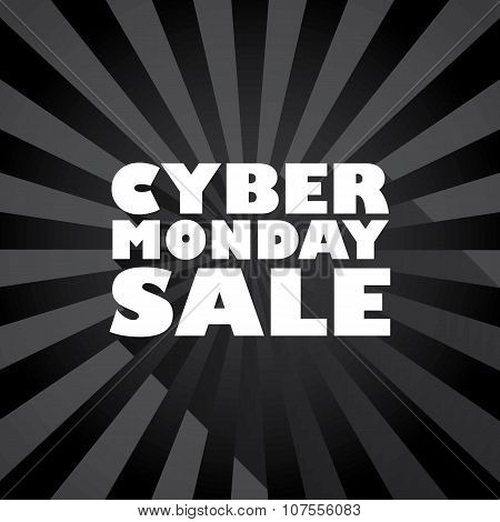 Cyber monday sale long shadow typography vector background banner.