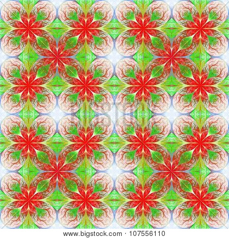 Beautiful Flower Fractal Pattern. Computer Generated Graphics. Artwork For Creative Design, Art And