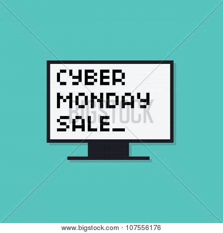 Cyber monday sale long shadow typography vector background banner. Pixel art style