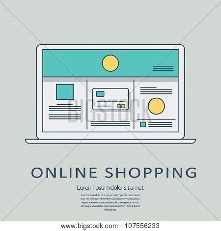 Online shopping concept vector background with line art user interface template on digital devices.
