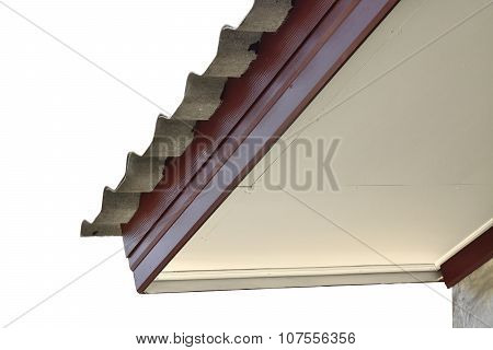 Standard Detail Connection Of Roof Tiles With Gypsum Board Ceiling And Eaves Isolate On White Backgr