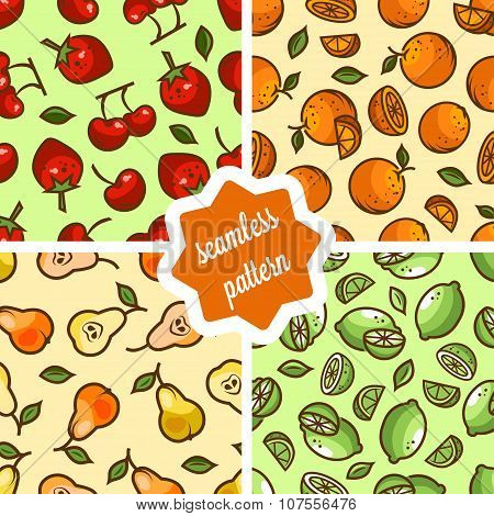 cute fruit patterns set