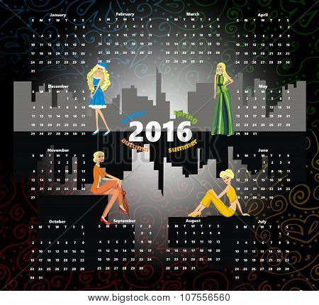 Calendar 2016 - beautiful girl in a gray city