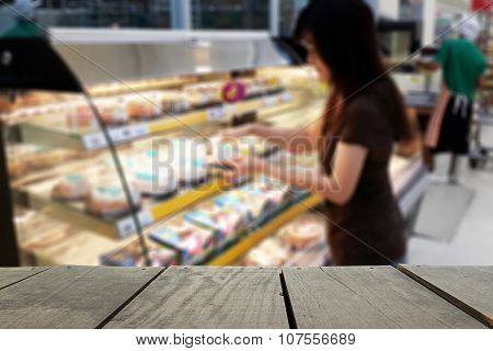 Defocus And Blur Image Of Terrace Wood And Supermarket Blur Background In Cake And Dessert Devision