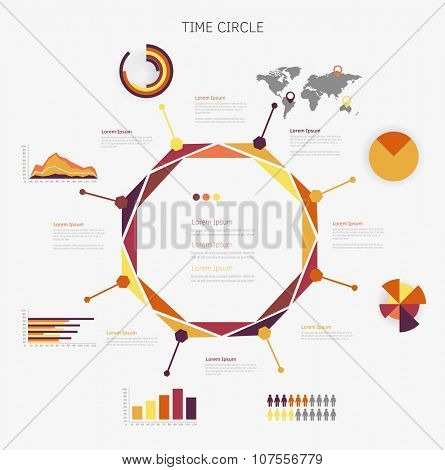 Time circle infographic. Vector illustration symbols set.