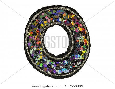 Sequin covered font isolated on white, capitol letter O