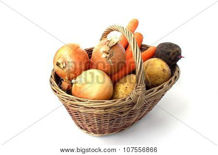 Basket Of Different Vegetables