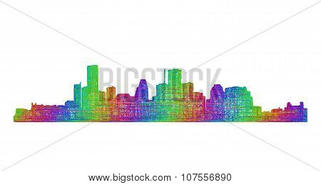 Houston skyline silhouette - multicolor line art
