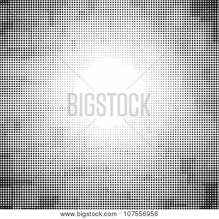 Halftone Abstract Sky With Might In Black And White