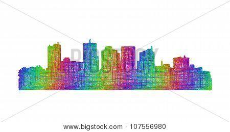 Phoenix skyline silhouette - multicolor line art