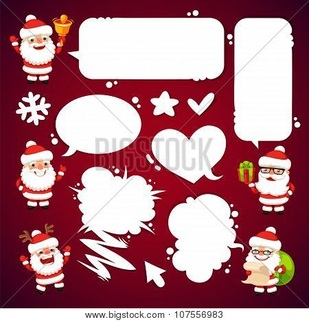 Set of Cartoon Santa Clauses with a Speech Bubbles