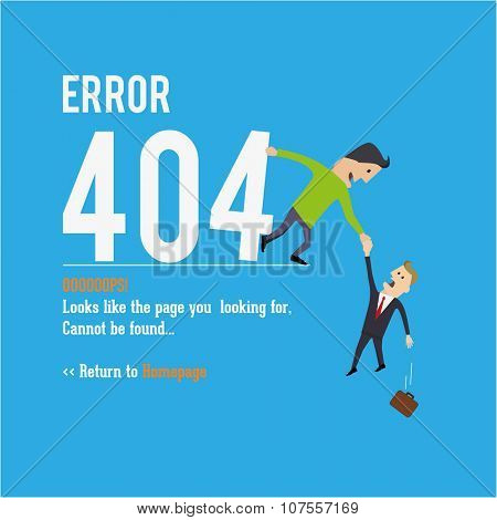 Business man saving. Page not found, 404 error. Web page.
