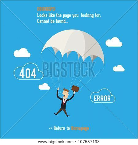 Business man with parachute. Page not found, 404 error. Web page.