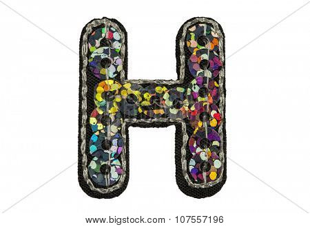 Sequin fonts isolated on white, Capitol letter H