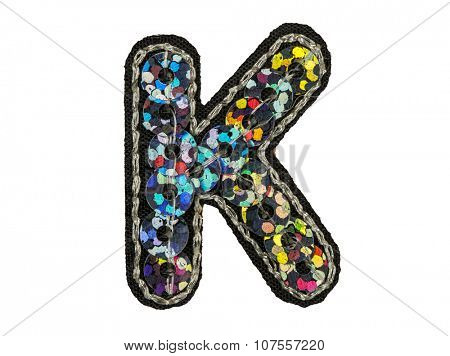 Sequin fonts isolated on white, Capitol letter K