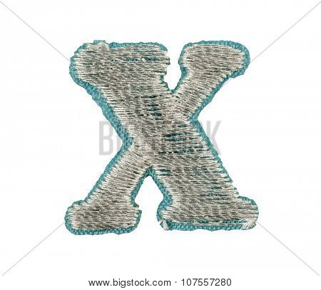 Fonts that are stitched with thread isolated on white capitol letter X