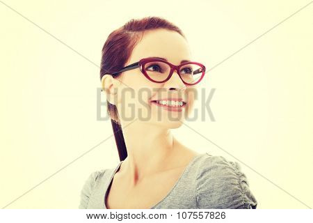 Portrait of beautiful woman in red eyeglasses