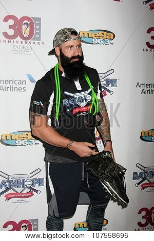 LOS ANGELES - NOV 7:  Brian WIlson at the Adrian Gonzalez's Bat 4 Hope Celebrity Softball Game PADRES Contra El Cancer at the Dodger Stadium on November 7, 2015 in Los Angeles, CA