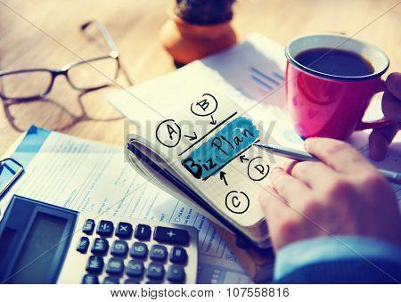 Businessman Biz Plan Word Concept