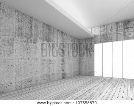 White Interior Background With Wooden Floor, 3D