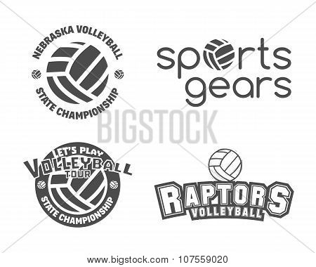 Volleyball labels, badges, logo and icons set. Sports insignias. Best for volley club, league compet